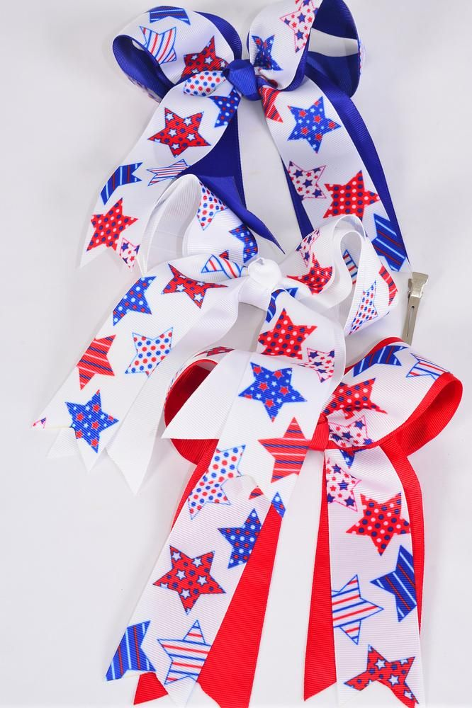 "MS-0006 Large Long Tail Patriotic Flag Grosgrain Bow Size-7""x 6"