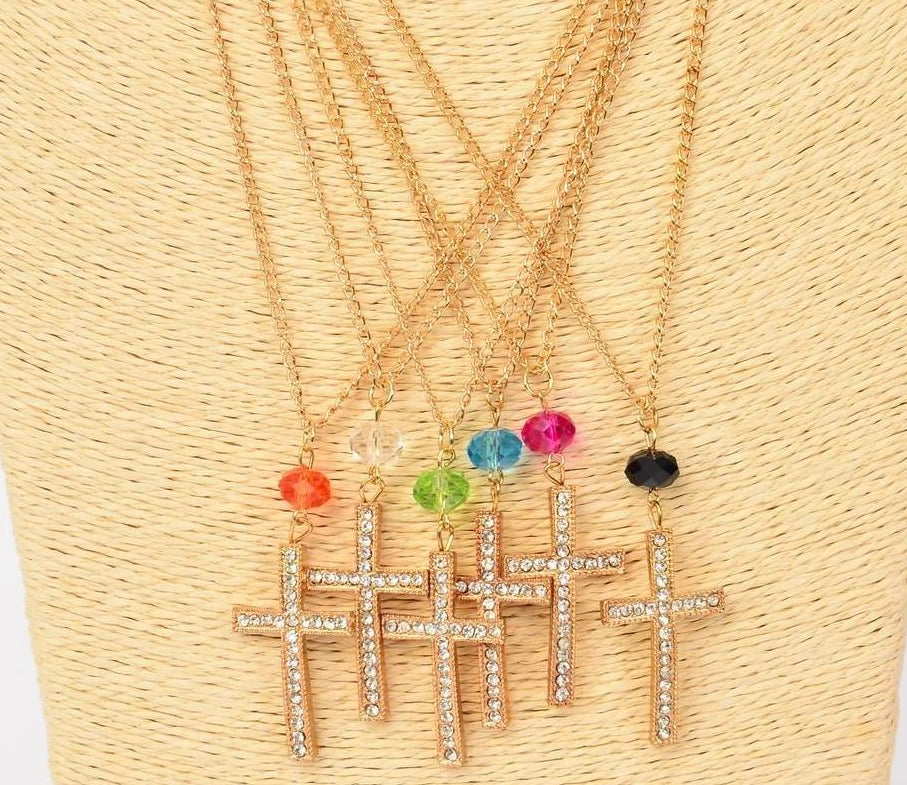 MS-0041 Cross Necklace Rhinestone Pendant