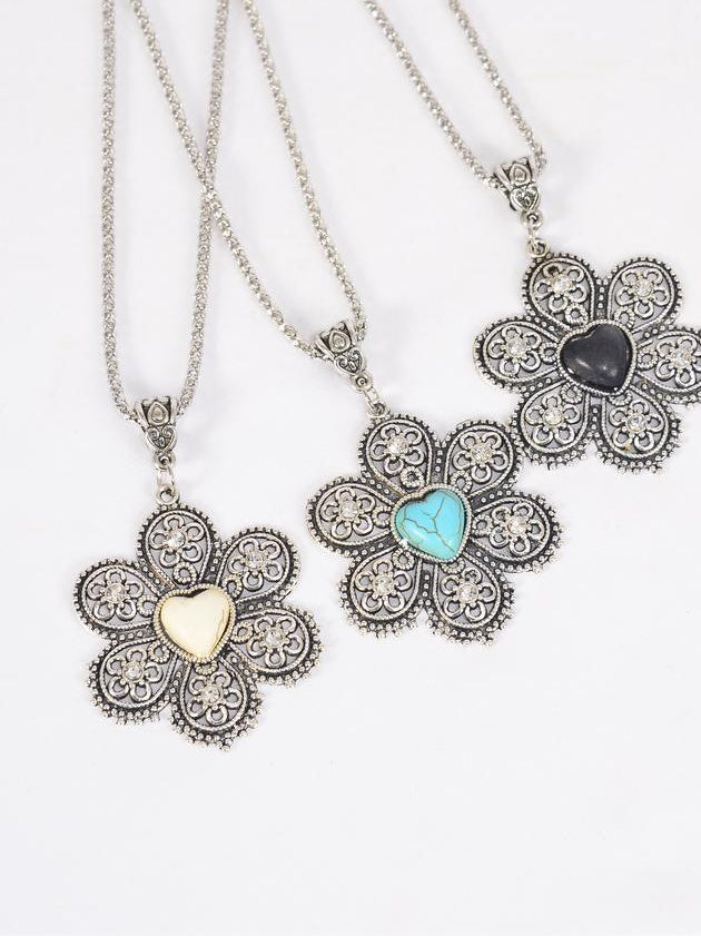 MS-0042 Silver Chain Metal Flower Necklace