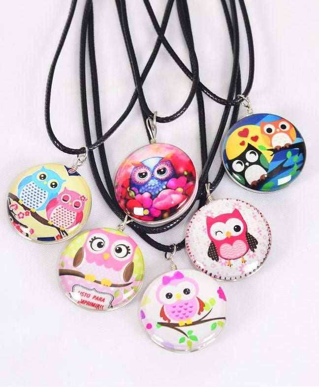MS-0045 Necklace Owl Double Sided Glass Dome