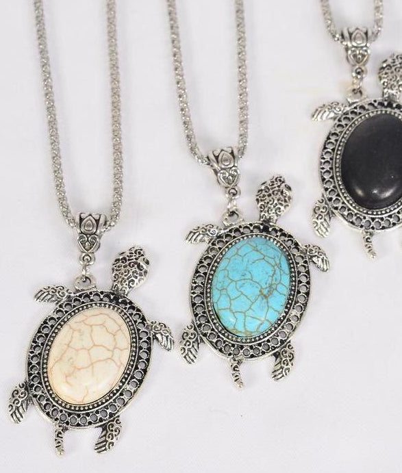 MS-0047 Necklace Silver Chain Turtle Semiprecious Stone