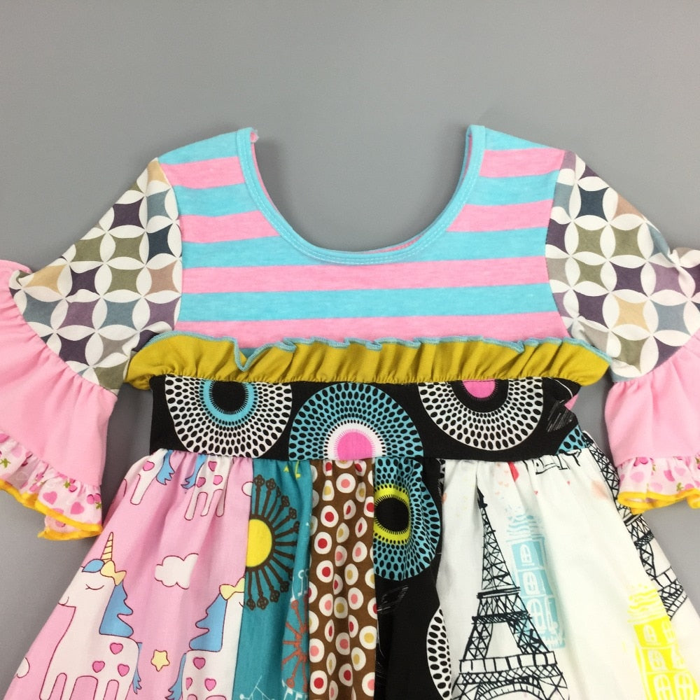 W-558 Girl's Unicorn Dress Size 3T-8Y