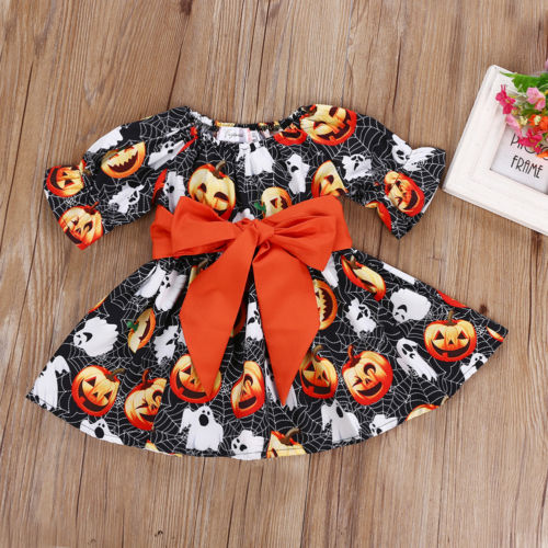 S-313 Toddler Girl's Halloween Big Bowknot Dress Size 2-6T