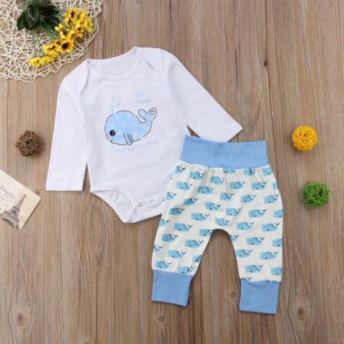 S-1362 Baby Boy's Whale Print Romper Long Pants Outfits Size 0-18M