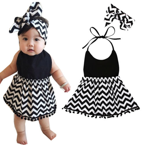 S-211 Baby Girl's Halter Dress Headband Size 6M-24M