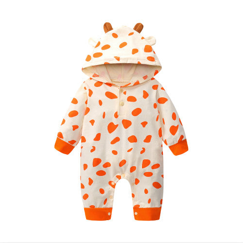 S-951 Boy Girl Hooded Giraffe  Romper Size 6M-24M