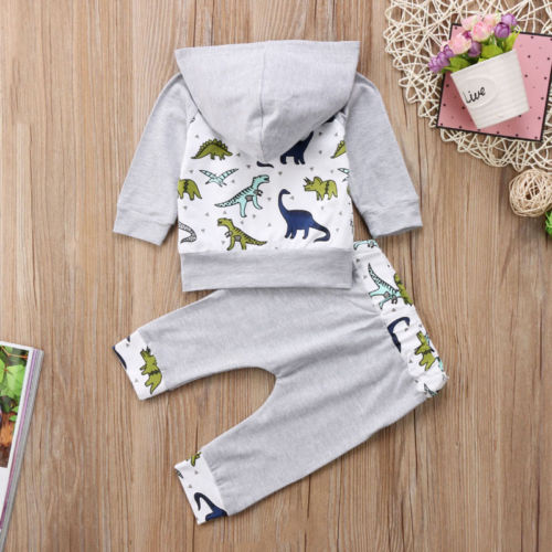 S-133 Baby Boy Girl Dinosaur Hooded Tops Pants 2Pcs Set Size 6M-24M
