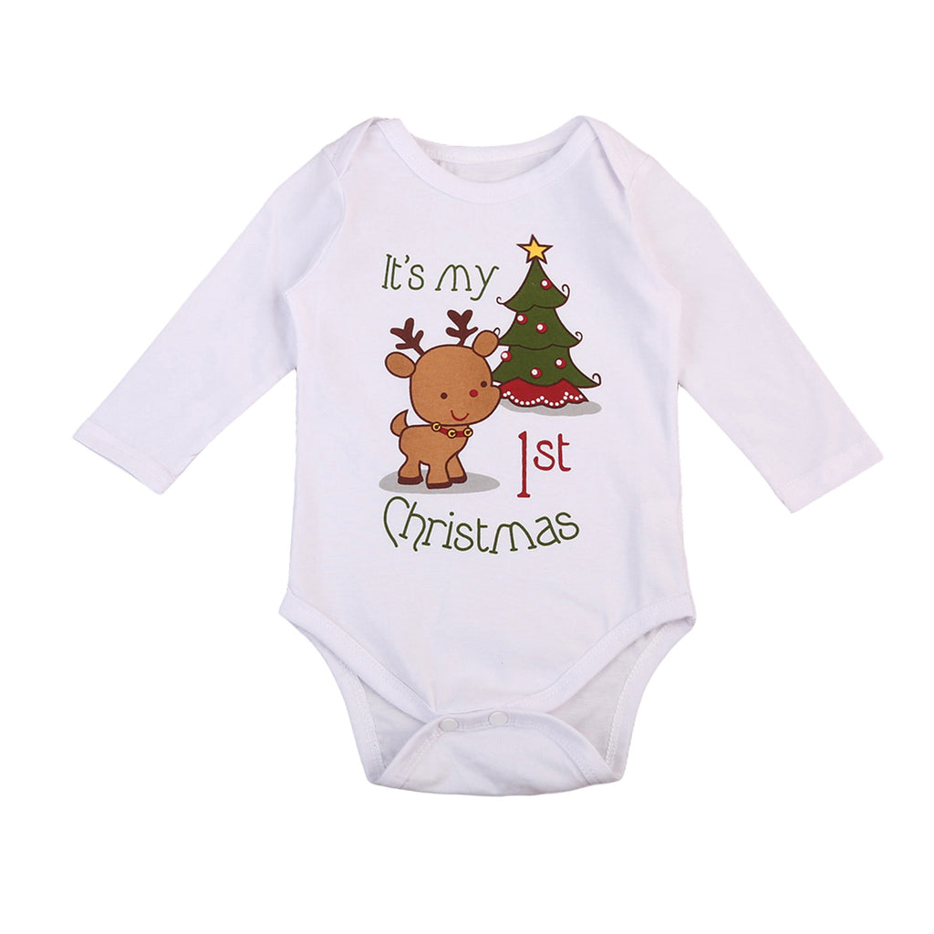 S-1994 Baby Boy Girl My 1st Christmas Long Sleeve Romper Size 6M-24M
