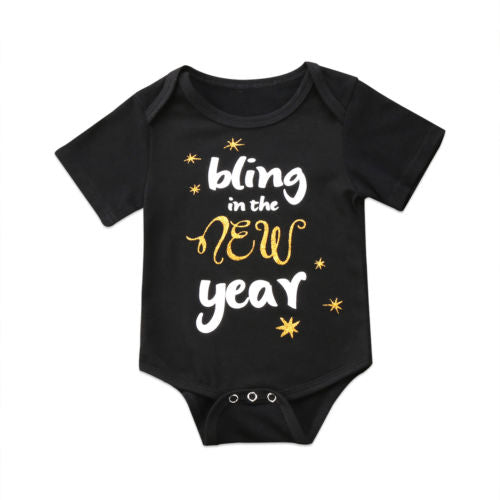 S-924 Baby Girl's New Year Short Sleeve Romper Size 6M-18M