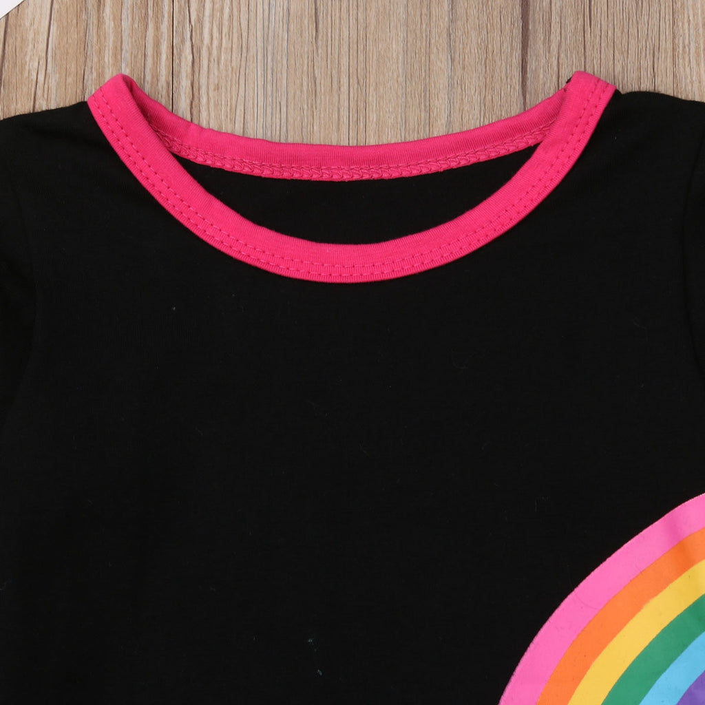 S-1239 Girl's Long Sleeve Rainbow 2PCS Outfit Set Size 2T-6T