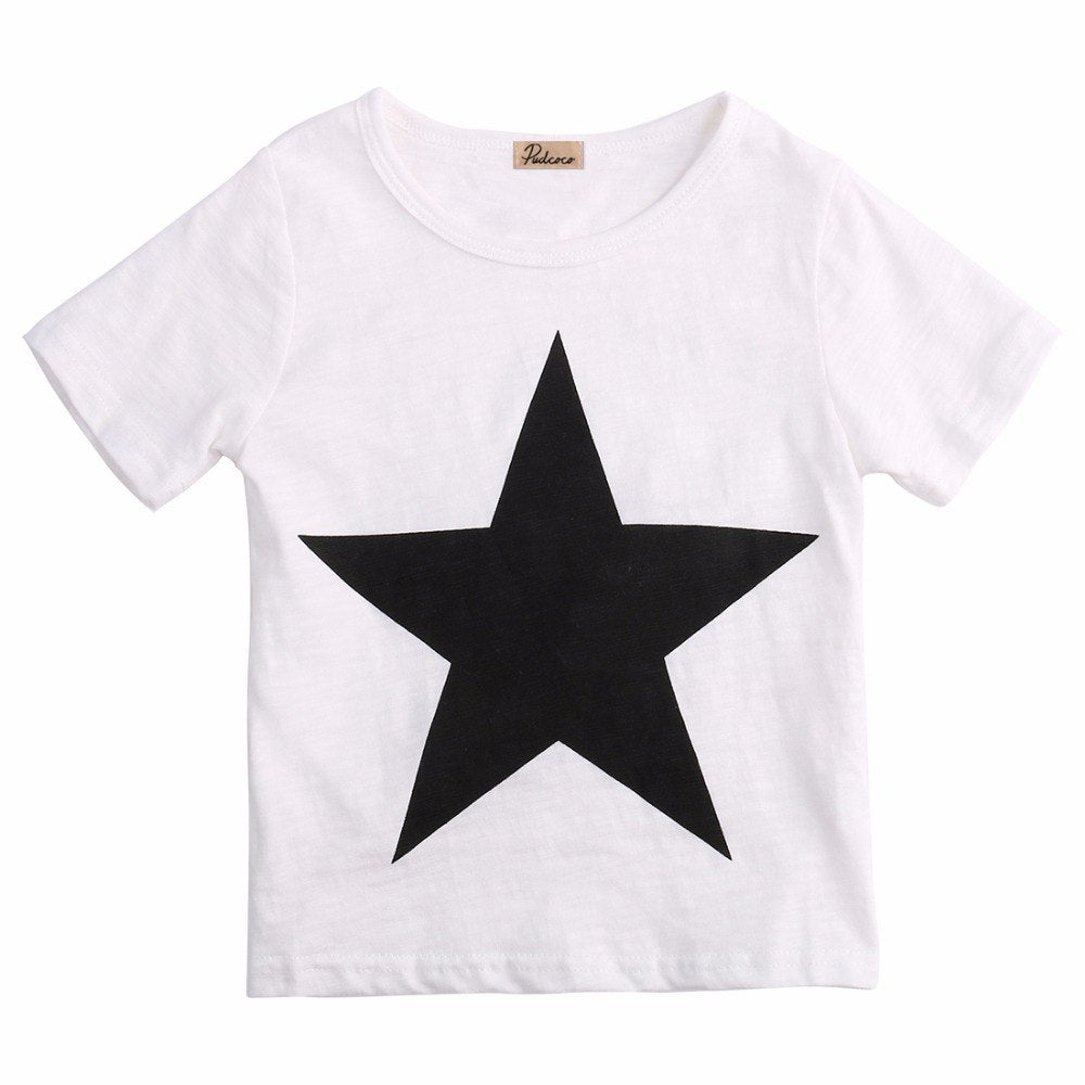 S-1467 Boy's 2 PC Comfy and Casual White with Black Star Outfit