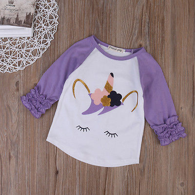 S-956 Girl's Unicorn Long Sleeve Top Size 2T-6T
