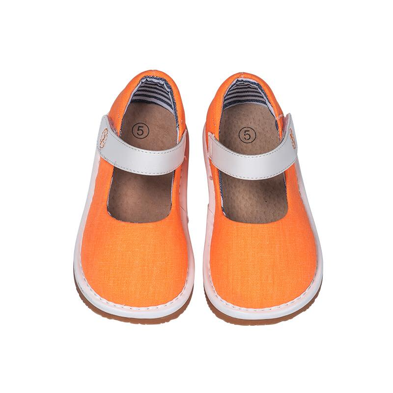 Toddler Girl's Casual Canvas Orange Mary Jane Squeaky Shoes