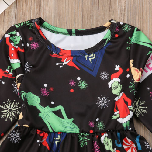 S-827  Girl's  Christmas Dress with Grinch print Size 3T-6T