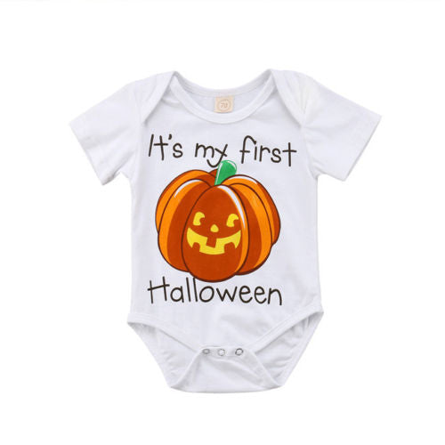 S-257 Pumpkin Halloween Baby's Short Sleeve Bodysuit Cotton Size 3M-18M