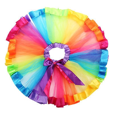 S-1016 Rainbow Color Tutu Skirt Size S, M, L