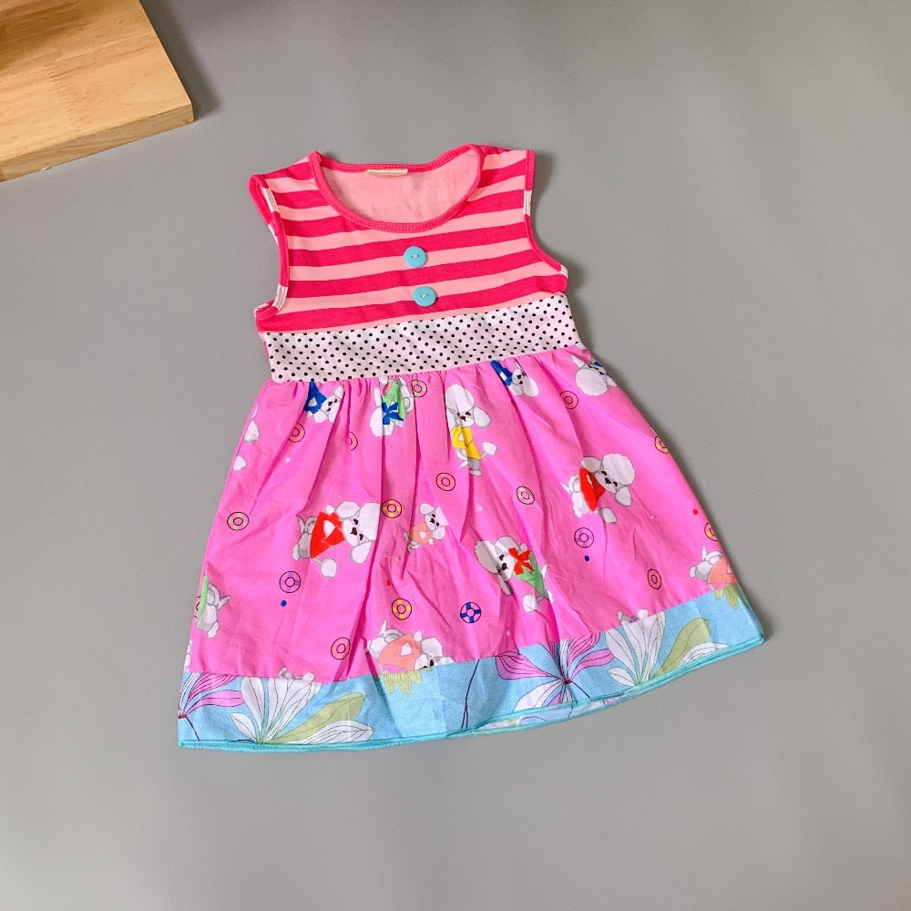 W-1751 Boutique Dress with Puppy prints Size 3T-8 READY TO SHIP FROM OHIO