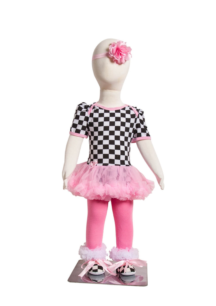 S-5 Infant Girl's Short-Sleeve Pink/Black/White Checkered  Print 4 Piece Set