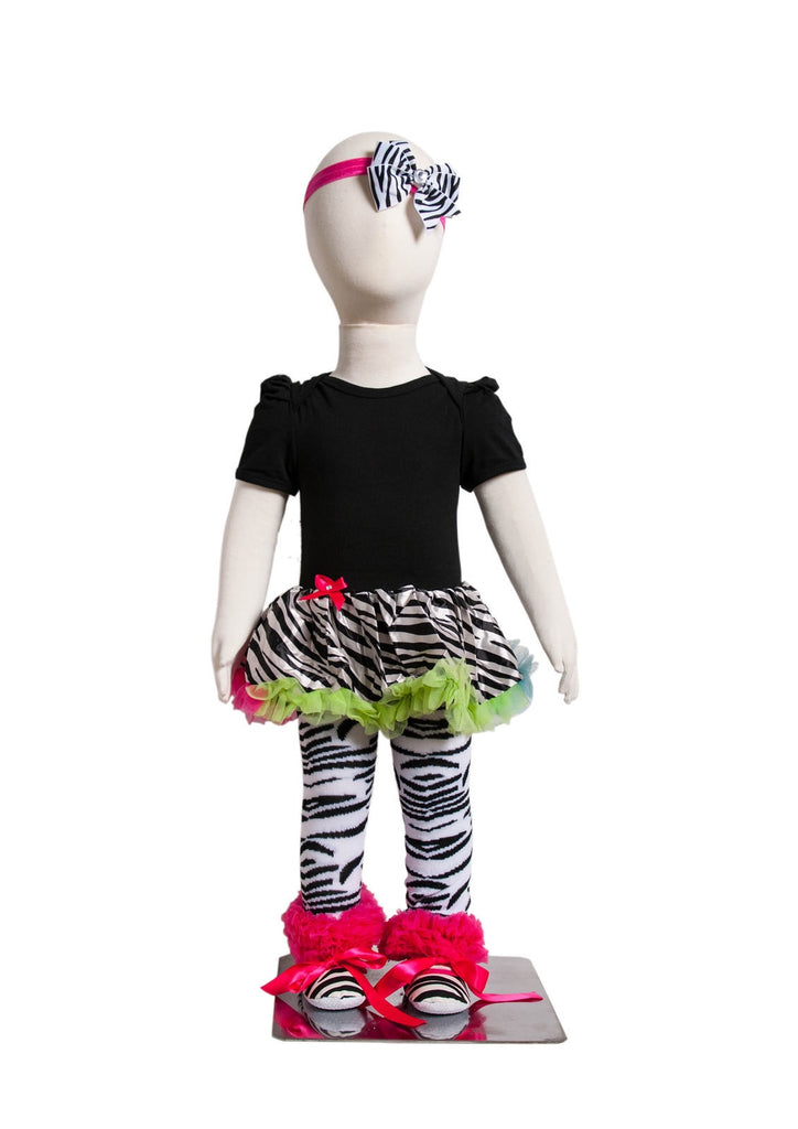 S-11 Infant Girl's Short-Sleeve Black and White Zebra Striped 4 Piece Set