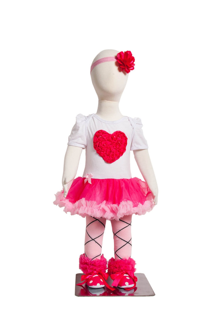 S-13 Infant Girl's Short-Sleeve White with Large Pink Heart 4 Piece Set