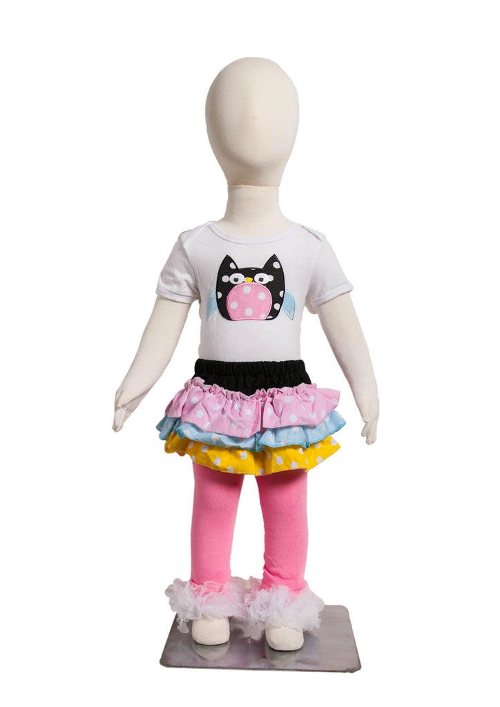 S-1 Infant Girl's Short-Sleeve White/Pink Owl w/Skirt 3 Piece Set