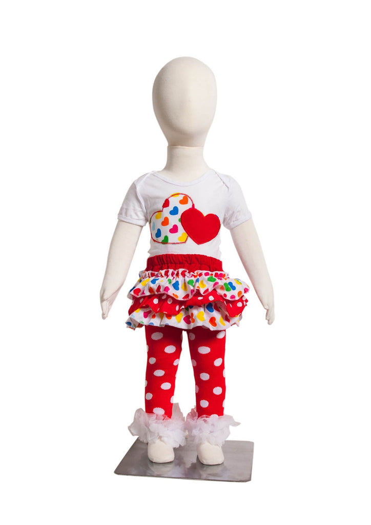 S-2 Infant Girl's Short-Sleeve White/Red and 2 Hearts w/Skirt 3 Piece Set