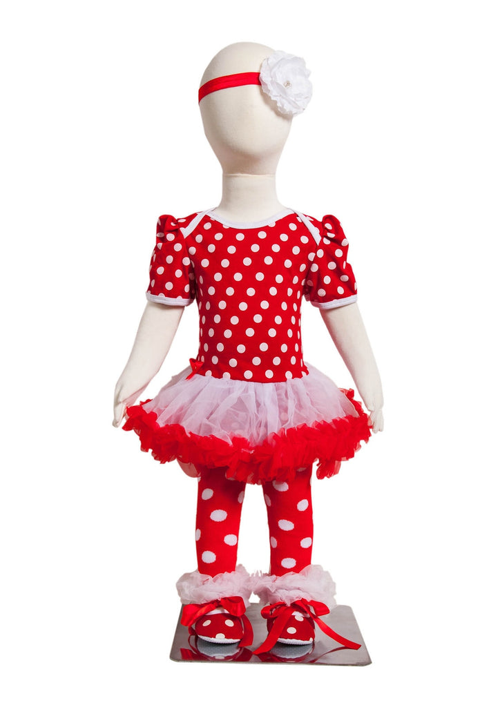 S-3 Infant Girl's Short-Sleeve Red/White Polka Dot 4 Piece Set