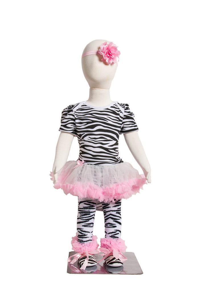 S-6 Infant Girl's Short-Sleeve Pink/Black/White Zebra Print 4 Piece Set