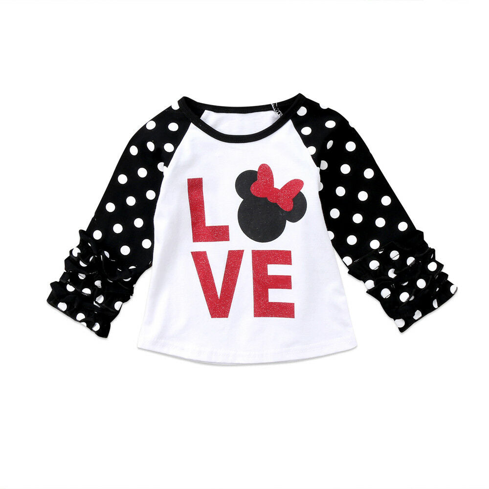 S-1905  Girl's Long Sleeve Top LOVE Size 2T-6T