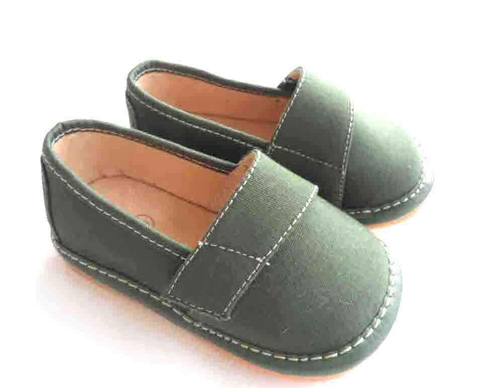 Discontinued Size 2 Only! Toddler Boy's  Leather Olive Green Flat Canvas Tom Style Squeaky Shoes