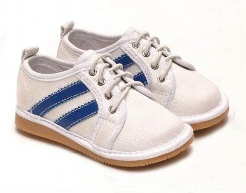 Defective Canvas Tie Toddler Boy's White Squeaky Shoes