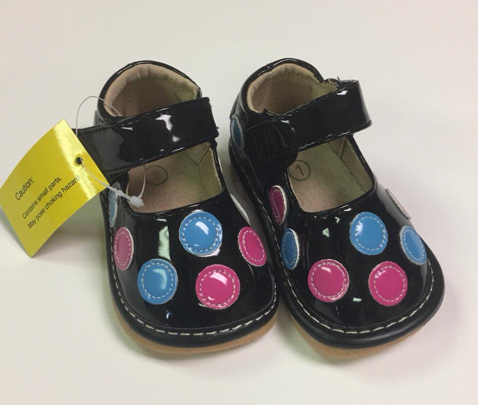 Size 1 Only! Discontinued Leather Toddler Girl's Patent Black with Pink and Blue Dots Squeaky Shoes