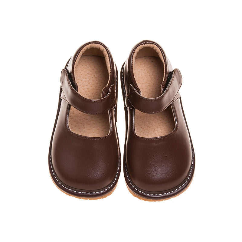 Leather Toddler Girl's Solid Brown Mary Jane Squeaky Shoes