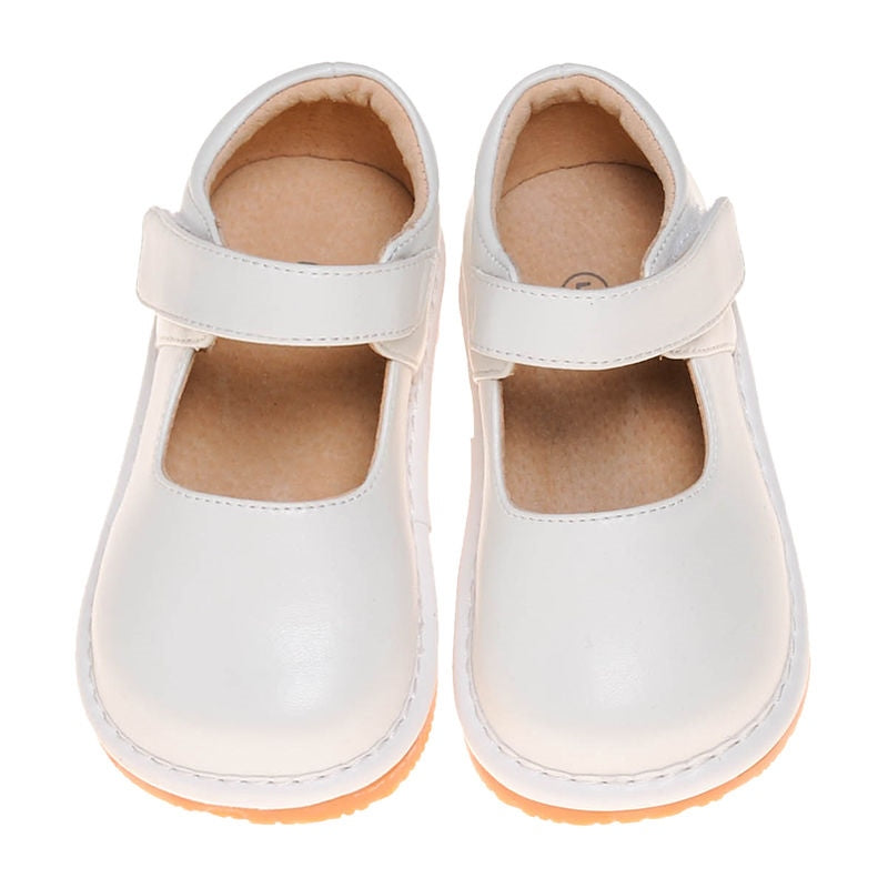 Leather Toddler Girl's Solid White Mary Jane Squeaky Shoes