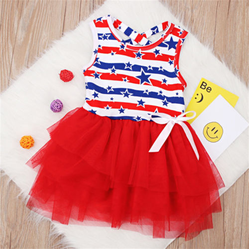 S-400 Red White Blue Girl's  Dresses Size 2-6T