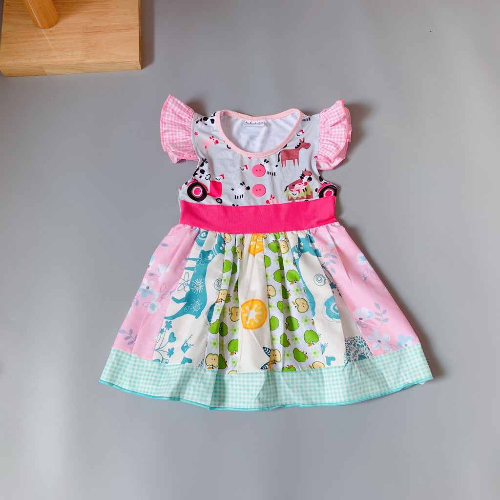 W-1748  Girl's Boutique Dress Size 3T-8 READY TO SHIP FROM OHIO