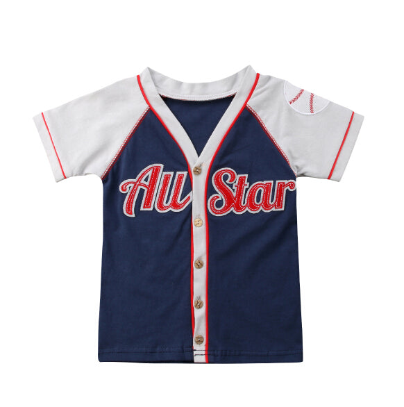 S-1375 Short Sleeve Baseball All Star Shirt Size 12M-5T