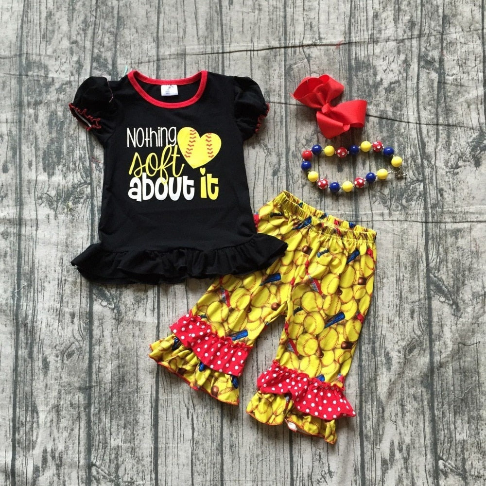 T-1592 Girl's Softball Boutique 4 PCS Set Matching Accessories Size 12M-8 READY TO SHIP FROM OHIO
