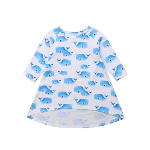 S-1361 Girl's Whale Print Cotton Long Sleeve Dress Size 6M -3T