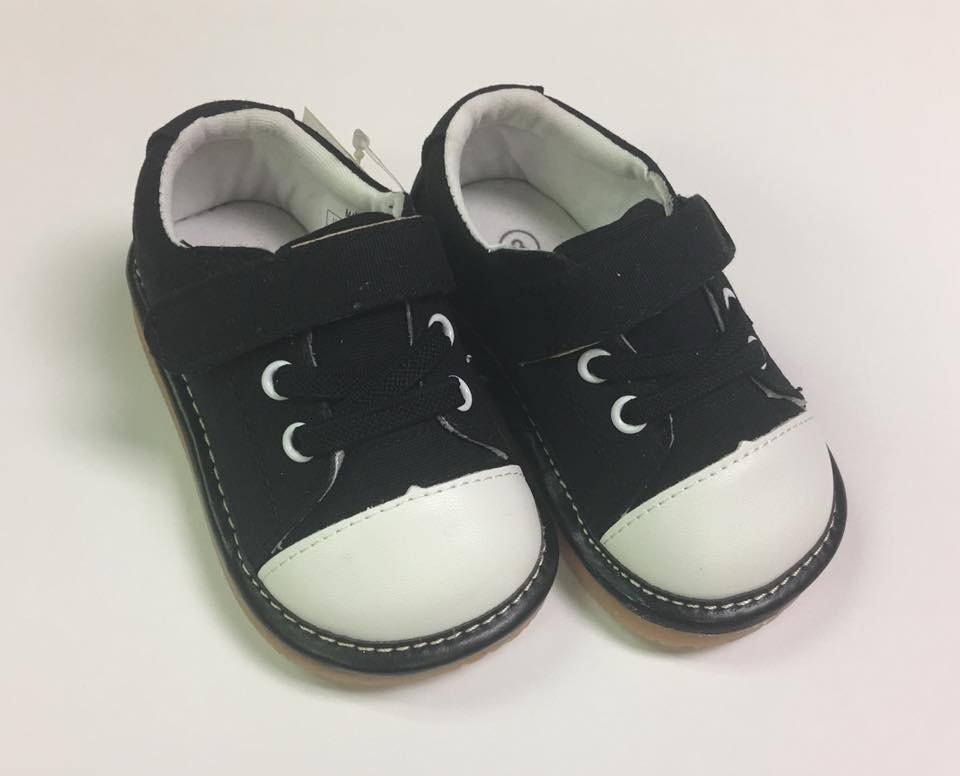 Toddler Boy's and Girl's Casual Canvas Black Tennis Squeaky Shoes