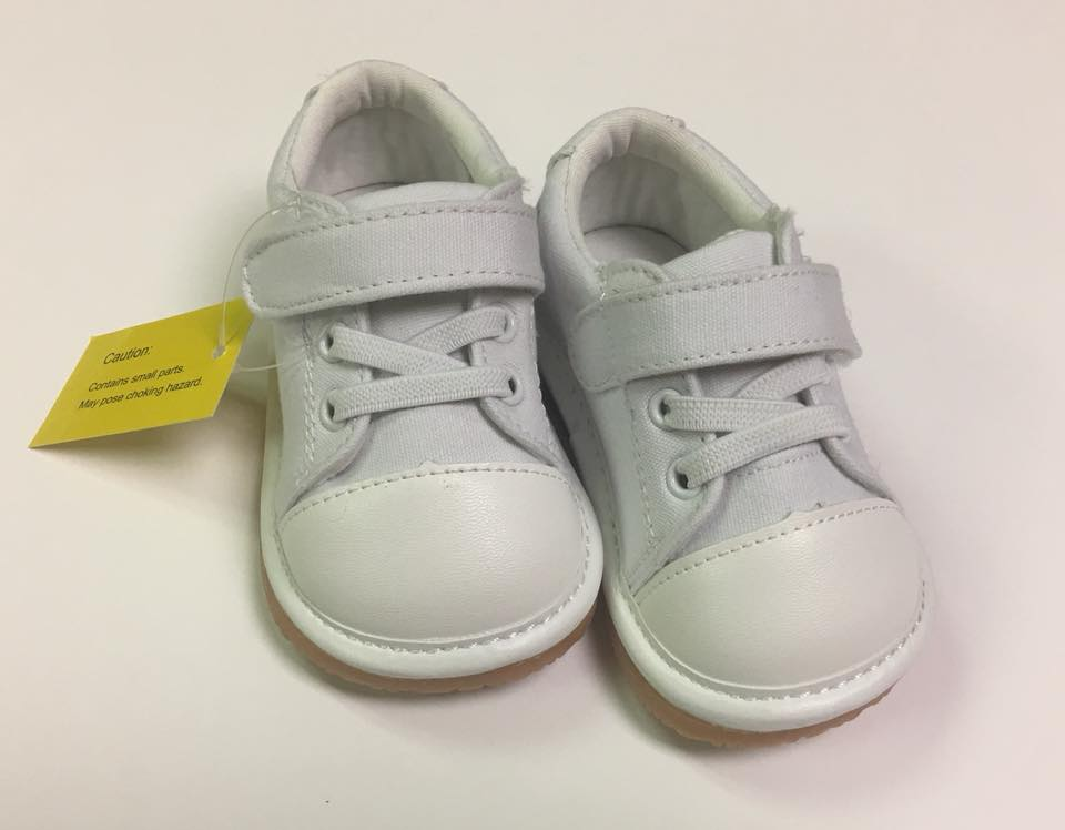 Toddler Boy's and Girl's Casual Canvas White Tennis Squeaky Shoes