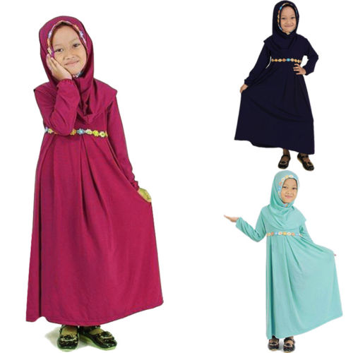 Toddler Infant Kids Baby Girl Long Maxi Dress Arab Muslim Hijab Clothes Outfits Size 1-6T