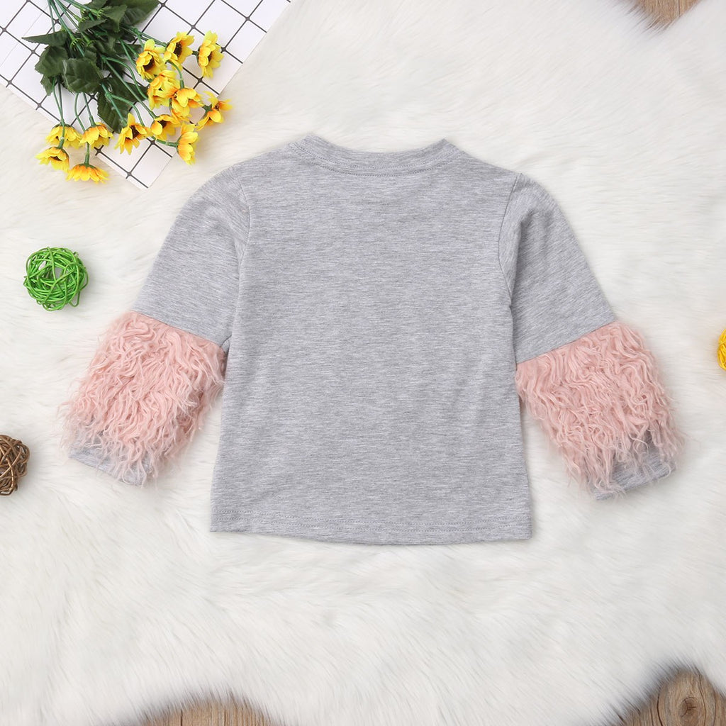 Toddler Kids Baby Girl Cotton Casual Plush tassel Long Sleeve T-shirt Top Blouse Clothes New