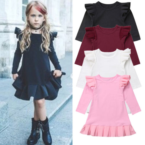 Toddler Kids Baby Girl Flying Sleeve Ruffle Princess Party Formal Dress Clothes Size 1 -5T