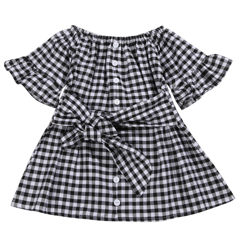 S-1897 Girl's Plaid Dress Size 2T-6T
