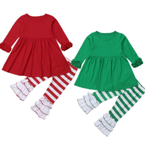 S-685 Girl's Christmas 2 PCS Outfit Size 2T-6T