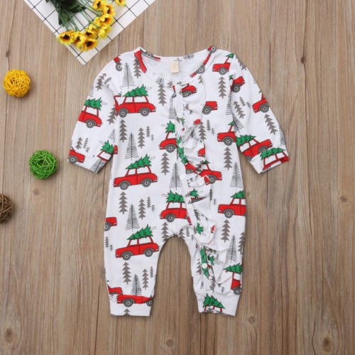XMAS Newborn Baby Boys Girls Cars Print Romper Jumpsuit Pants Outfits Clothes Size 0-18M