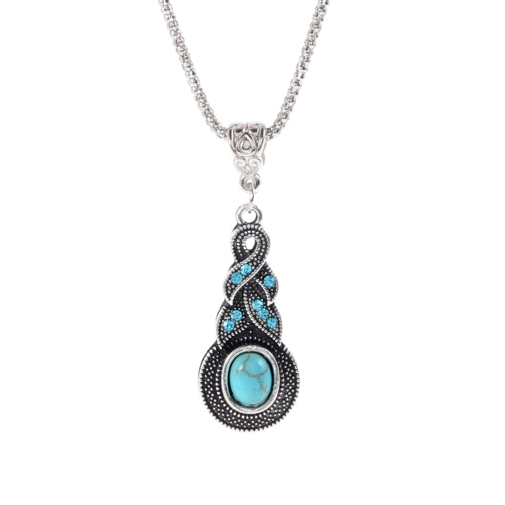 ZO-1820  Women's Blue Stone Pendant Necklace