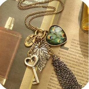 ZO-1816 Vintage Peacock Feather Necklace
