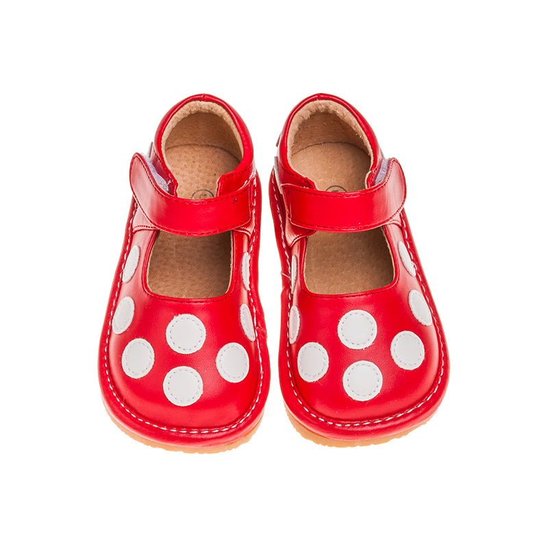 Leather Toddler Girl's Red and White Polka Dot Mary Jane Squeaky Shoes